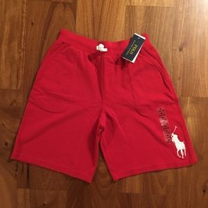 Boys red Polo RL shorts white  big pony